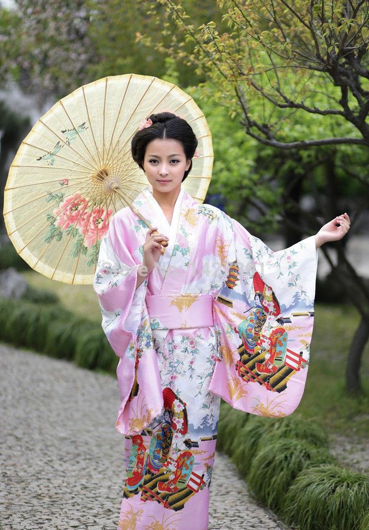 New-Charming-Traditional-Japanese-kimono-Uchikake-Bathrobe-Hiyoku-With-Belt-uniform-costume-cosplay-Pink-free-shipping